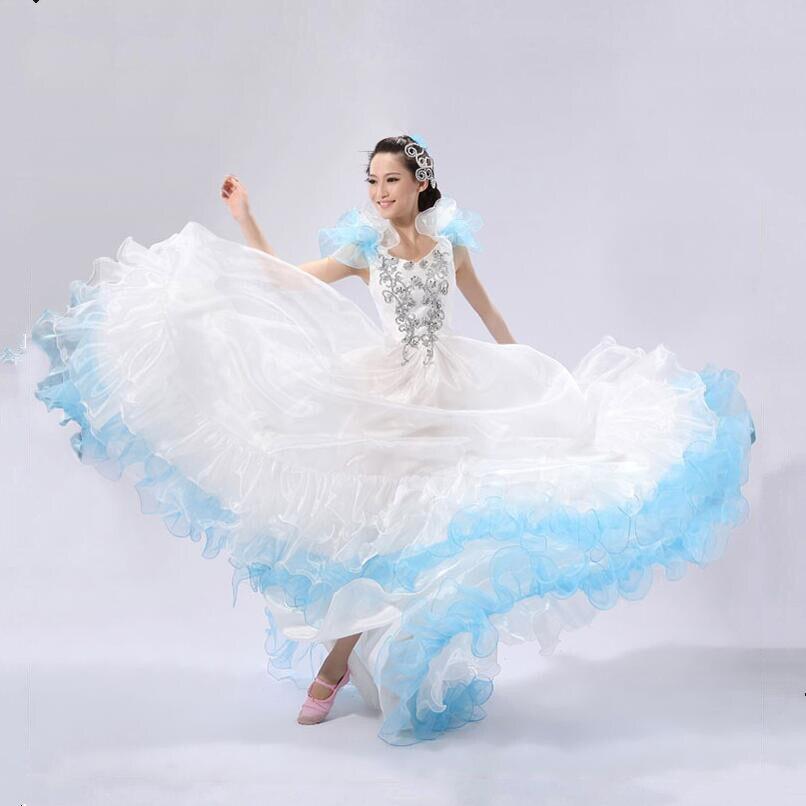 540 مرحلة الأداء الفلامنكو أثواب رقص الإسبانية مصارعة الثيران فستان رقص شرقي للنساء فستان كلاسيكي أنيق الفلامنكو