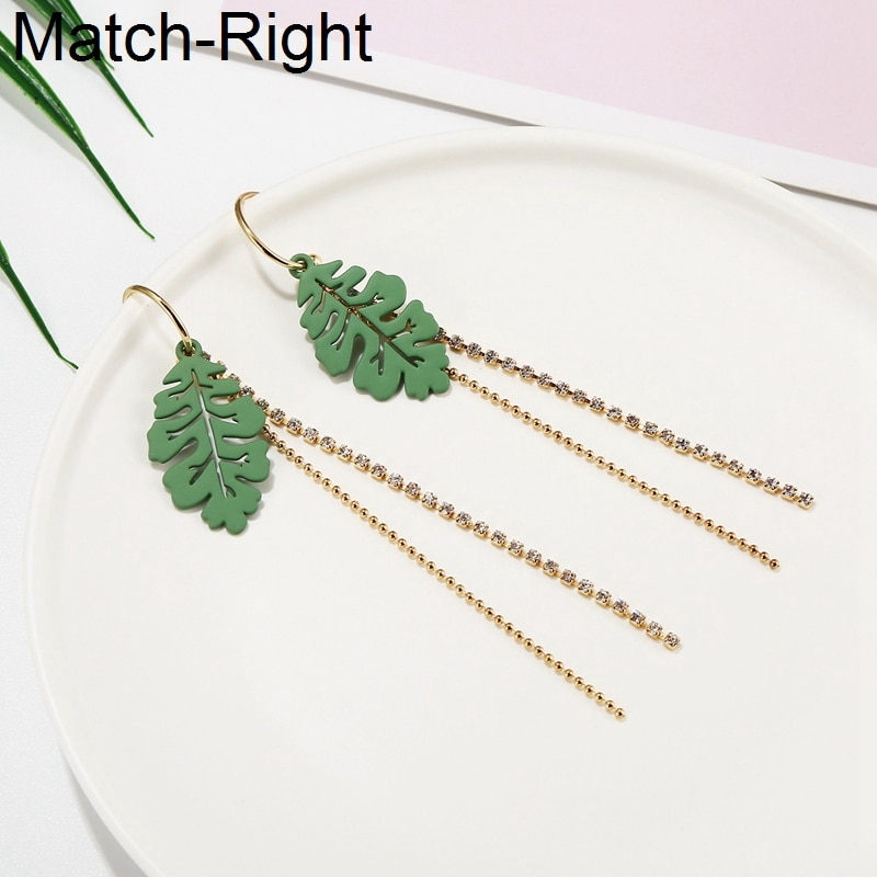Match-Right Tassel Long Dangle Hanging Earrings For Women Brincos Dangle Korean Leaf Earrings Pendant Female Jewelry SP889
