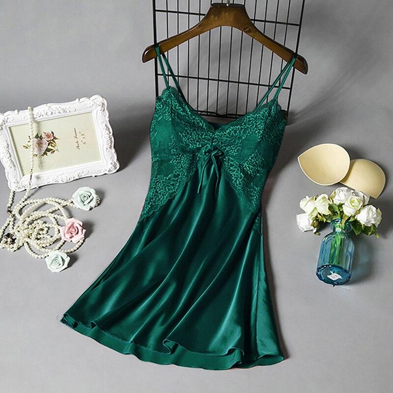 2020 mulheres sexy nightgown mancha sleepwear vestido v pescoço strappy sólido nightwear noite vestido roupas femininas mujer renda