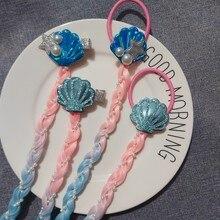 Disney dessin animé poupée perruque tresse symphonie sirène dégradé couleur coquille perle perruque mode cheveux anneau pince à cheveux