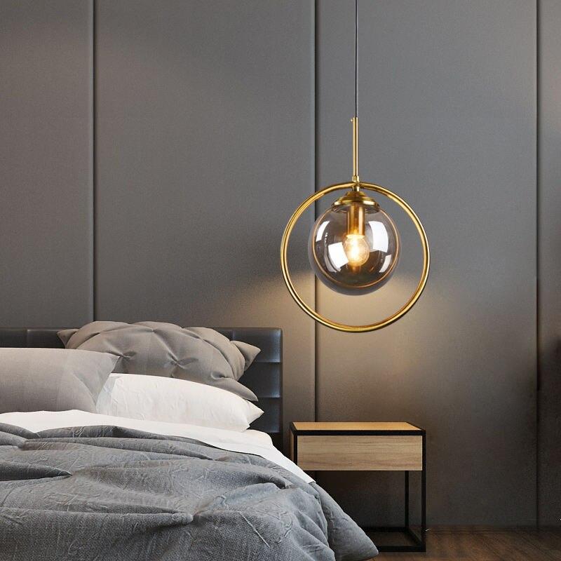 زجاج حديث نجفة الكرة تركيبات حلقة ذهبية المطبخ غرفة الطعام السرير مصابيح تعليق الإنارة تعليق