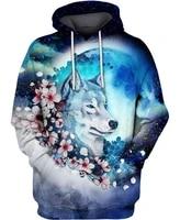 beautiful sakura wolf 3d print hoodie man women zipper pullover sweatshirt casual unisex jacket style b 5544