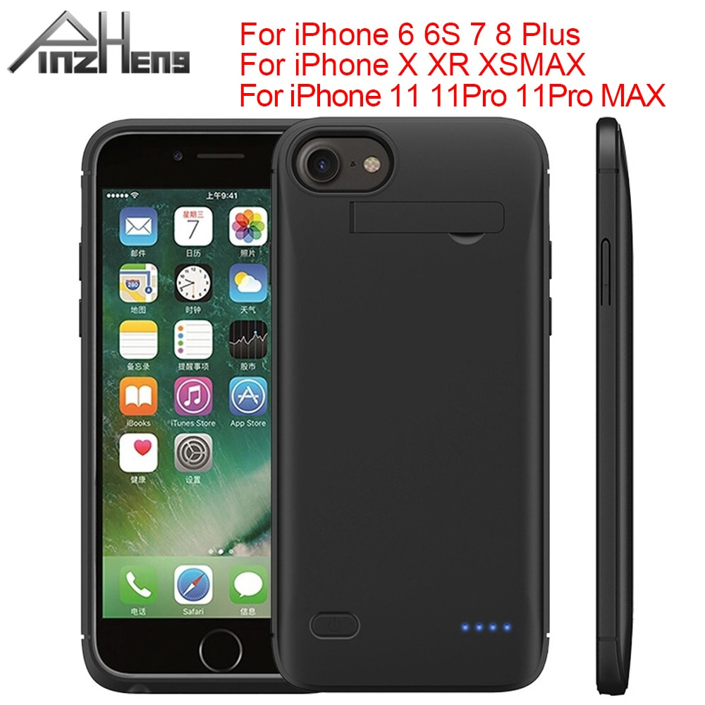 PINZHENG 6200mAh Battery Charger Case For iPhone 6 6S 7 8 Plus Charging Case For iPhone X XR Xs Max