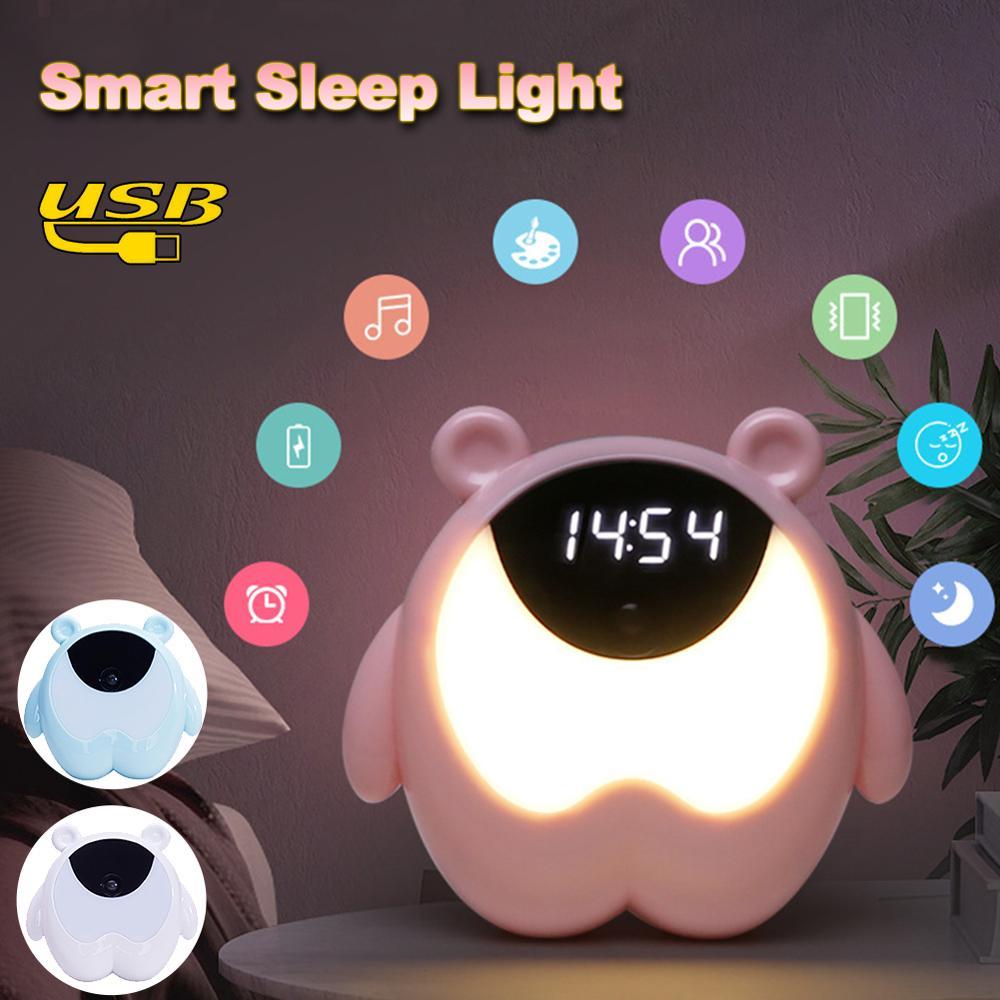 Kids Digital Alarm Clock Soft Brightness Night Light Rechargeable Bedside Lamp for Bedroom