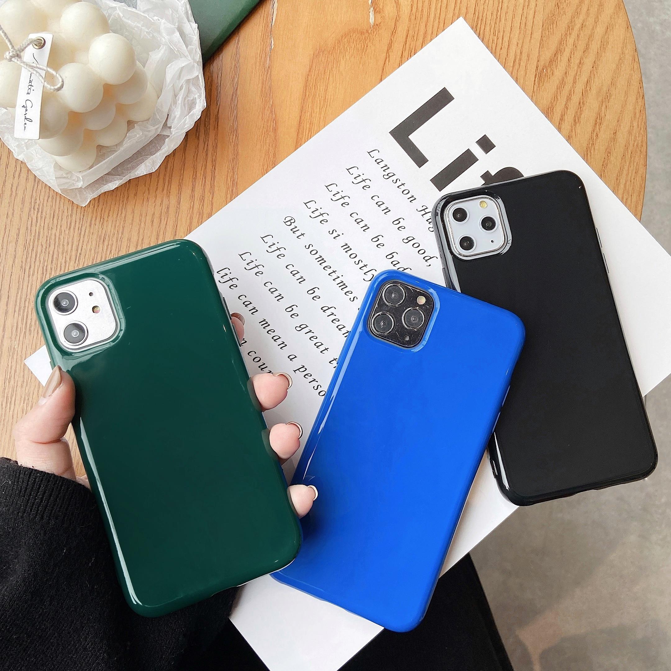 Funda de teléfono Ranipobo de Color sólido brillante grueso suave para iPhone 11 Pro XR XS X XS Max 7 8 6 6S Plus, carcasa de teléfono de moda
