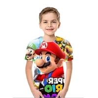 mario bros t shirts 3d printing boys t shirt summer casual short sleeve anime tops kids funny loose o neck boys child clothes