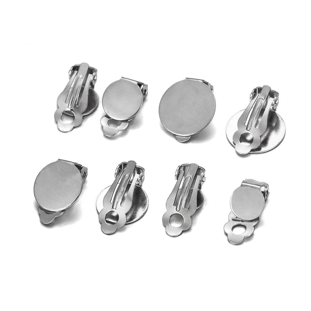 dawnjoe high quality 316l stainless steel v shaped earrings hook popular ear hooks diy making drop earrings jewelry finding 10pcs/lot Stainless Steel Round Flat Ear Clip Glass Cabochons Earrings Clips Supplies For DIY Jewelry Making Finding Supplies