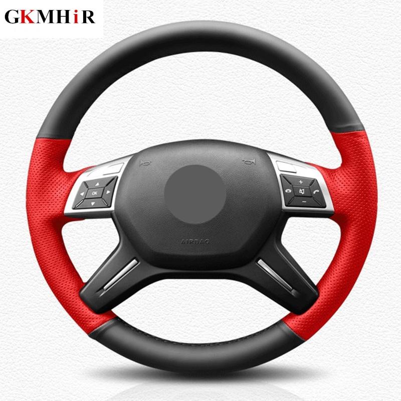 DIY Black Genuine Leather Car Steering Wheel Cover for Mercedes Benz C180 C200 C260 E200 E260 ML320 ML360 ML400
