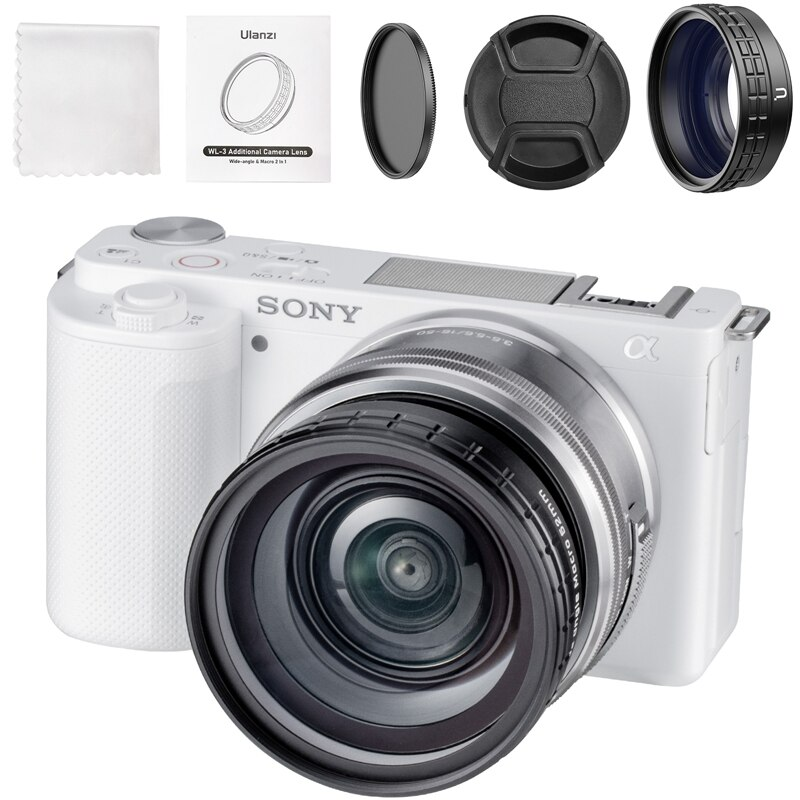 Ulanzi WL-3 ZV-E10 18 مللي متر زاوية واسعة عدسة 10X HD ماكرو 2 في 1 عدسة كاميرا إضافية لسوني ZV-E10 سوني A7C كاميرا الملحقات