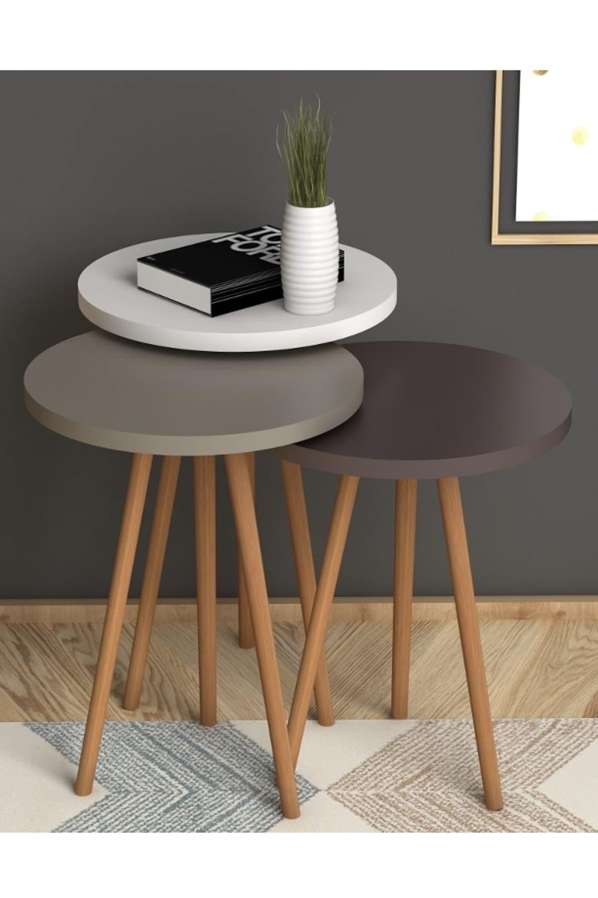 Roma Zigon sehpa Beyaz-Cappuccino-Kahve Masa Dekor Sehpa Oturma Odası Şık Moda üçlü modern ahşap kahverengi sehpa kahve sehpası çay sehpası meyve masası kanepe yanı oturma odası için mobilya sehpa