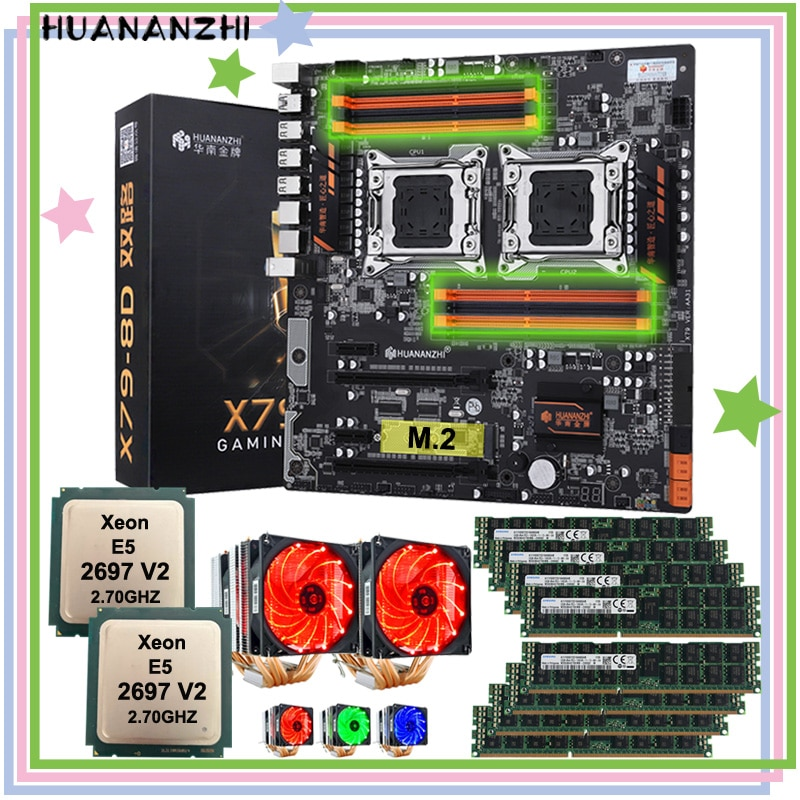 HUANANZHI X79-8D dual X79 Placa base con M.2 NVMe SSD ranura dual CPU Xeon E5 2697 V2 con doble enfriadores RAM 256G (32G 8 *) REG ECC