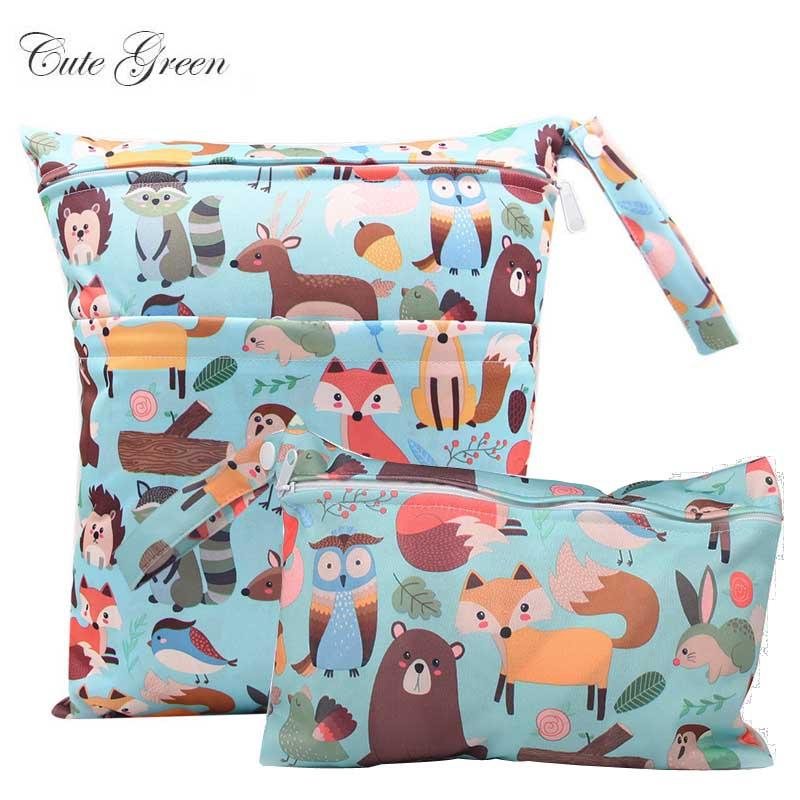 Waterproof Reusable Wet Bag For Nursing Menstrual Pad Baby Cloth Diaper Nappy Travel Wetbag Maternity Diaper Bag 30*36 15*22.5cm