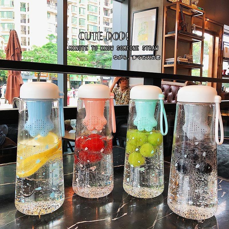 550ML Creative Cat garra Cup transparente botellas de agua de plástico libre de BPA con filtro de té verano deportes botella de agua de gran capacidad