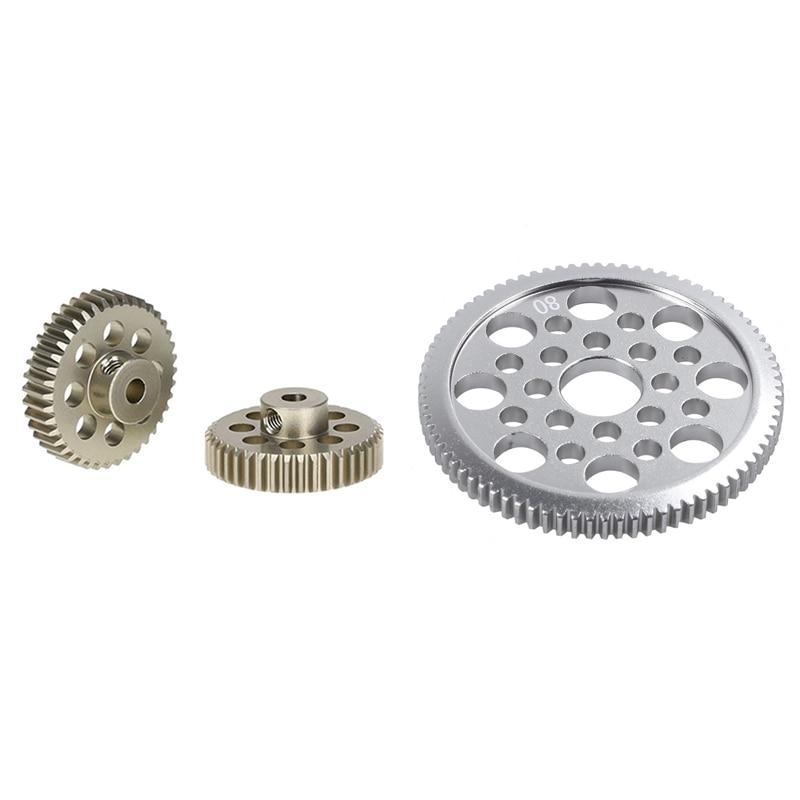 2Pcs 48Dp 3,175 Mm 40T Ritzel Motor Getriebe für Rc Auto Gebürstet Bürstenlosen Motor & 1Pcs Aluminium legierung 48P Spur Getriebe 80T für Sakura D3