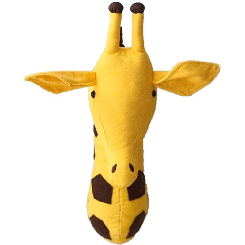 3D Pared de cabeza Animal de peluche colgando de la pared juguetes para niños habitación animales esculturas para pared. Jirafa