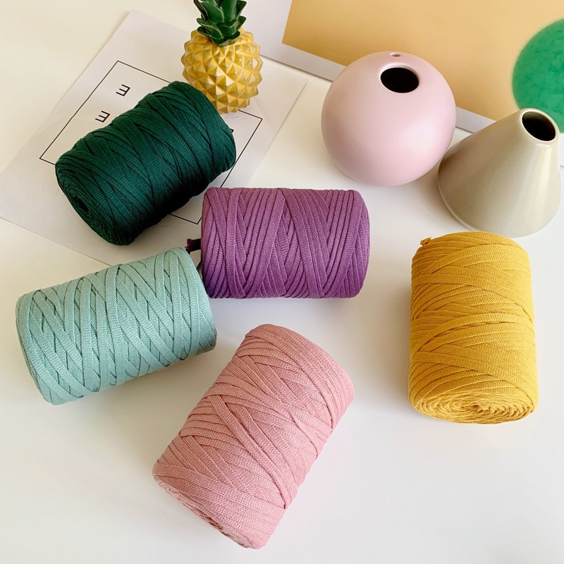Knitting Wool Flat Wire Mesh Flat Wire Cloth Strip Yarn Cashmere Crochet Yarn With Crochet Hook For
