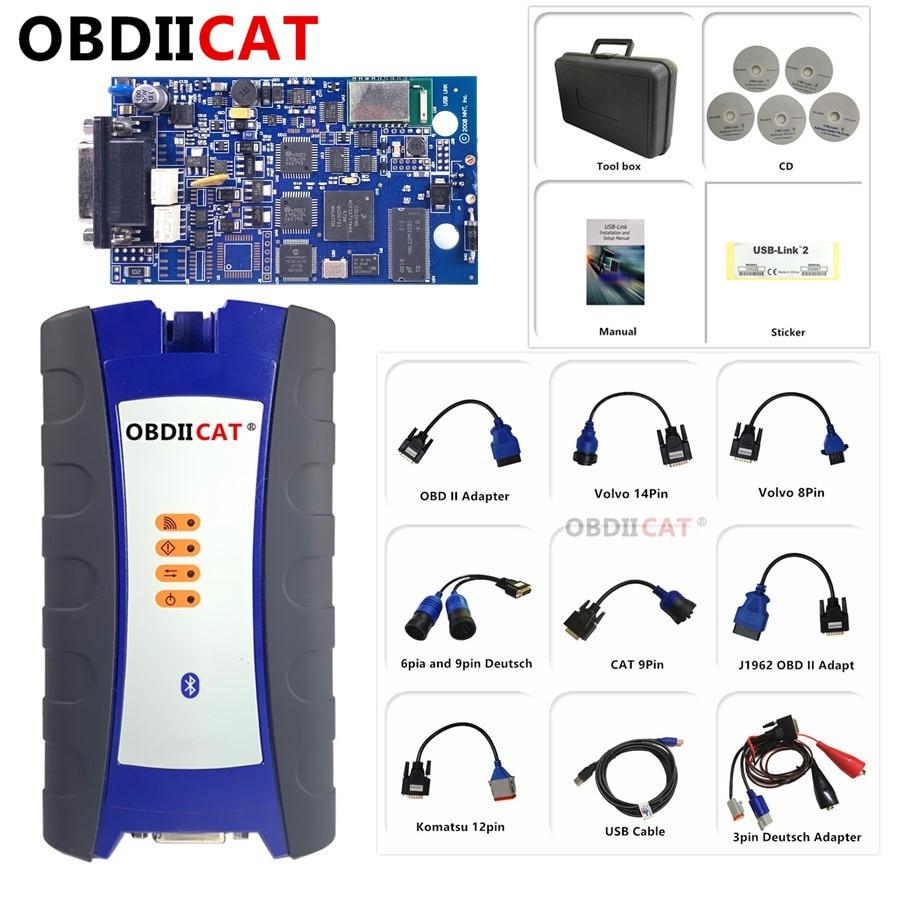 OBDIICAT USB Link 2 مع بلوتوث الثقيلة شاحنة الماسح الضوئي 125032 الثقيلة شاحنة أداة تشخيص أفضل من DPA5