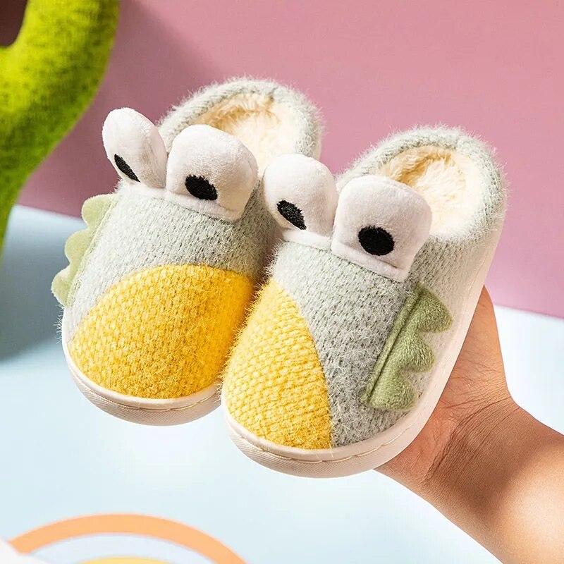 Тапочки для малышей, зимняя плюшевая домашняя обувь, детские меховые сланцы, плюшевые тапочки, Детская домашняя бархатная обувь, зимние теп...