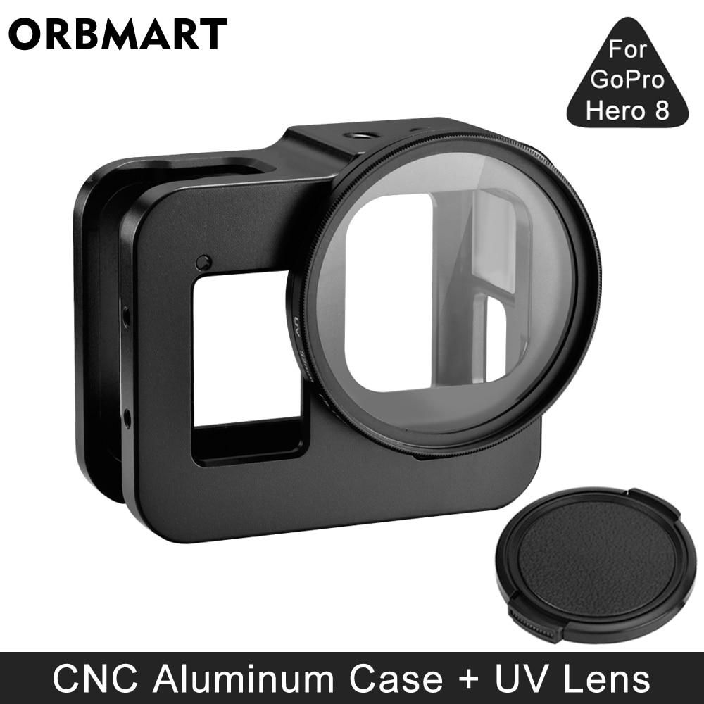 سبائك الألومنيوم واقية الحال بالنسبة GoPro بطل 8 أسود معدن إطار قفص + UV عدسة تصفية ل الذهاب برو 8 كاميرا الملحقات