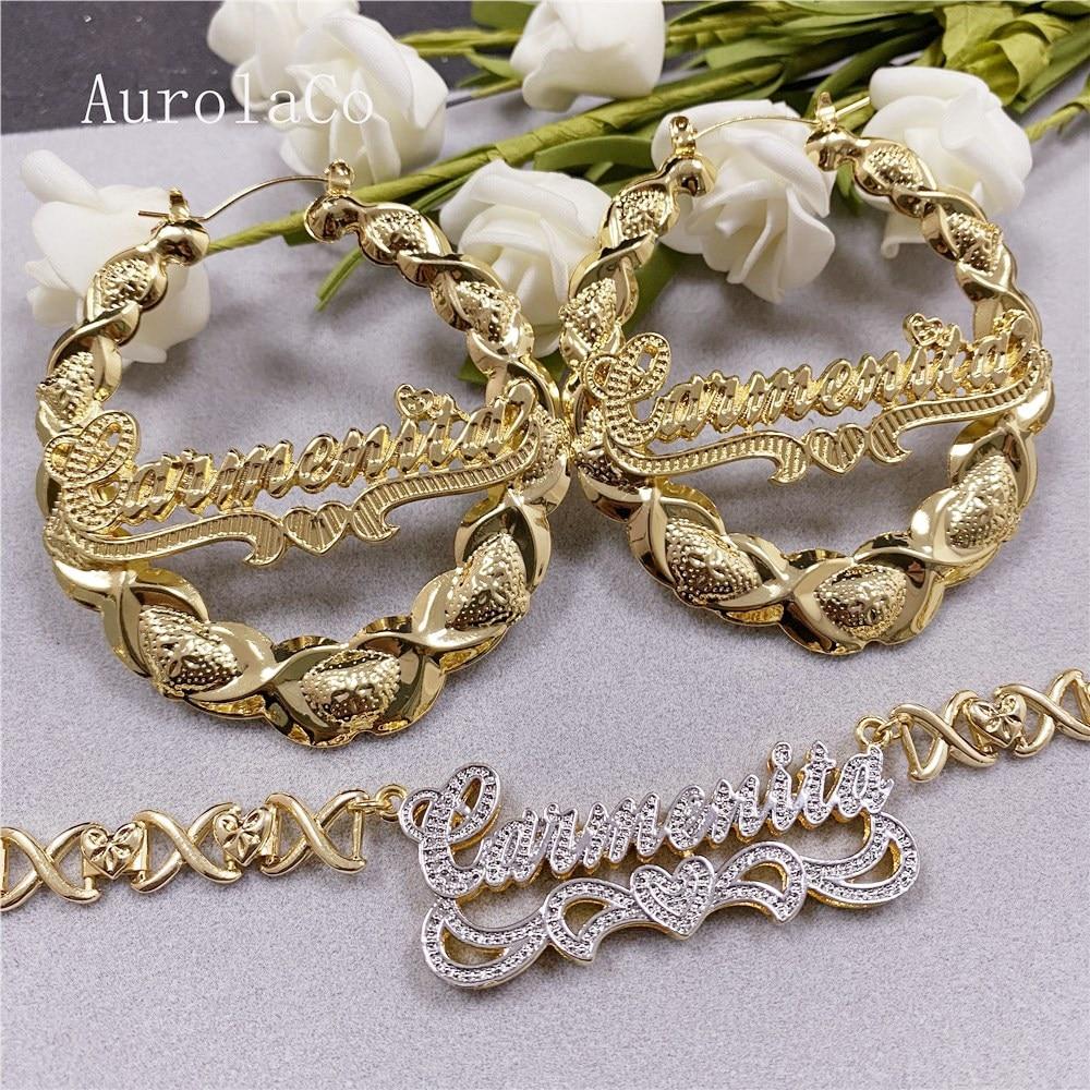 AurolaCo XOXO مخصص اسم طقم مجوهرات موضة جديدة السيدات أقراط XOXO مخصص اسم أقراط الذهب الأطواق أقراط للنساء هدايا