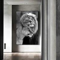 Images de paysage naturel de deux Lions  noir et blanc  HD  Art mural  maison pour salon  decoration moderne a la mode