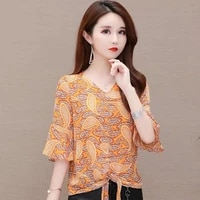 women spring summer style chiffon blouses shirts lady casual short flare sleeve flower printed v neck blusas tops