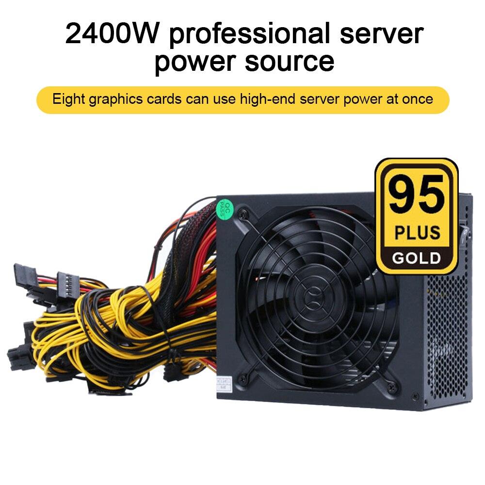 2000 واط ATX ETH التعدين إمدادات بطاقة الآلة 95% كفاءة دعم متعدد القنوات 8 عرض بطاقات GPU 2400 واط ماكس ل جهاز تعدين بيتكوين
