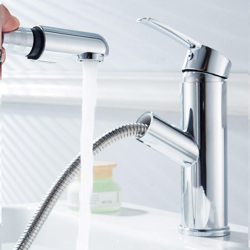 Cuarto de baño cuenca grifo extraíble de pulverización lavabo grifo sola manija de baño de agua fría y caliente Crane recipiente fregadero grifo mezclador Crane cubierta de montaje