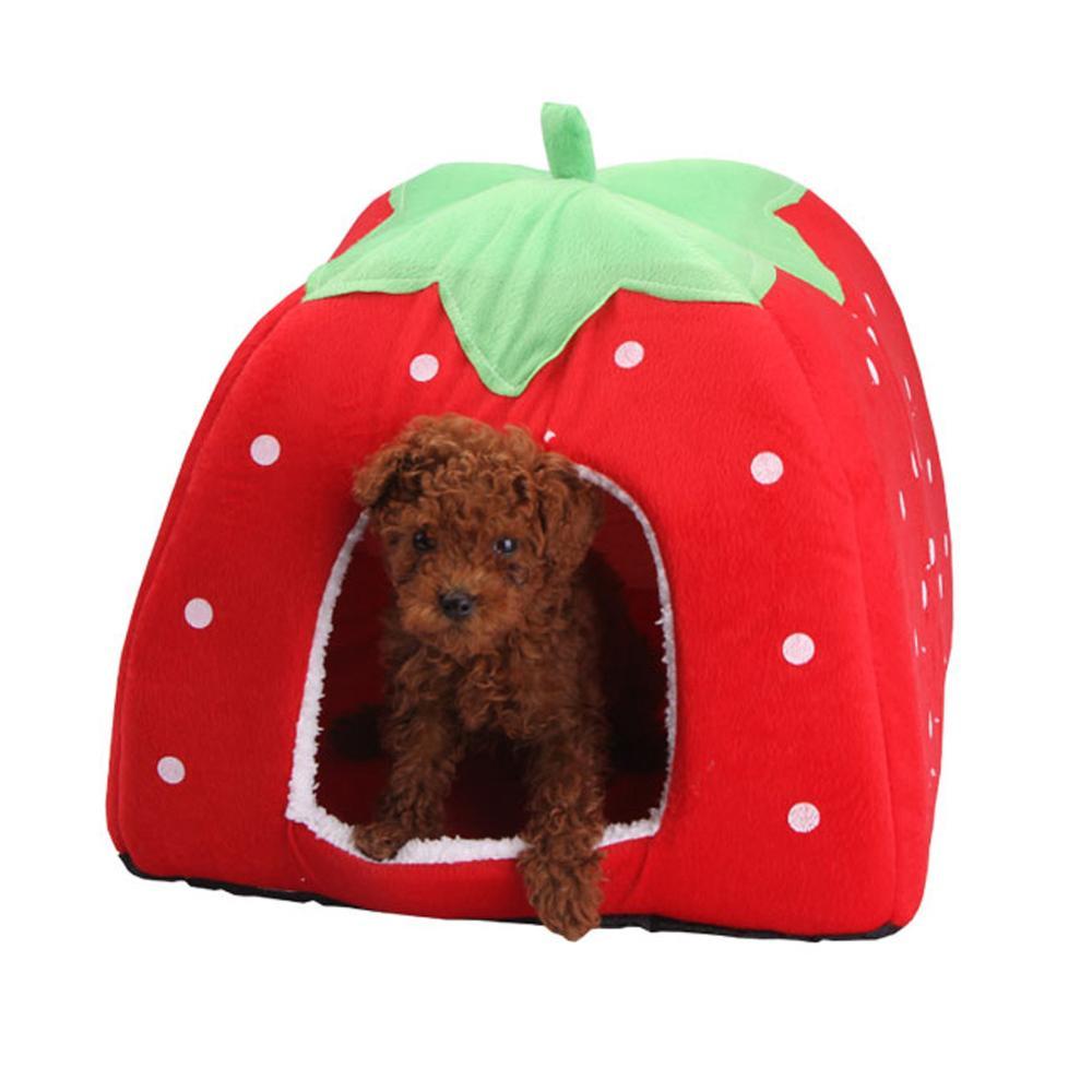 Suave fresa casa para perro y gato cómoda perrera perrito plegable moda cojín cesta lindo Animal cueva productos para mascotas