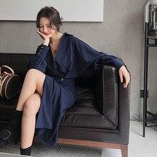 Elegant Dress Women Spring And Autumn Sleeve Retro Midi Dress Female Office Lady Button Hight Street