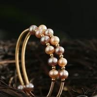 green purple natural fresh water pearl bracelet irregular shaped pearls jewelry handmade fashion bangle cuff for wedding women