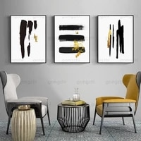 abstract canvas painting one two three black gold wall art poster luxury bedroom living room cafe decoration printing painting