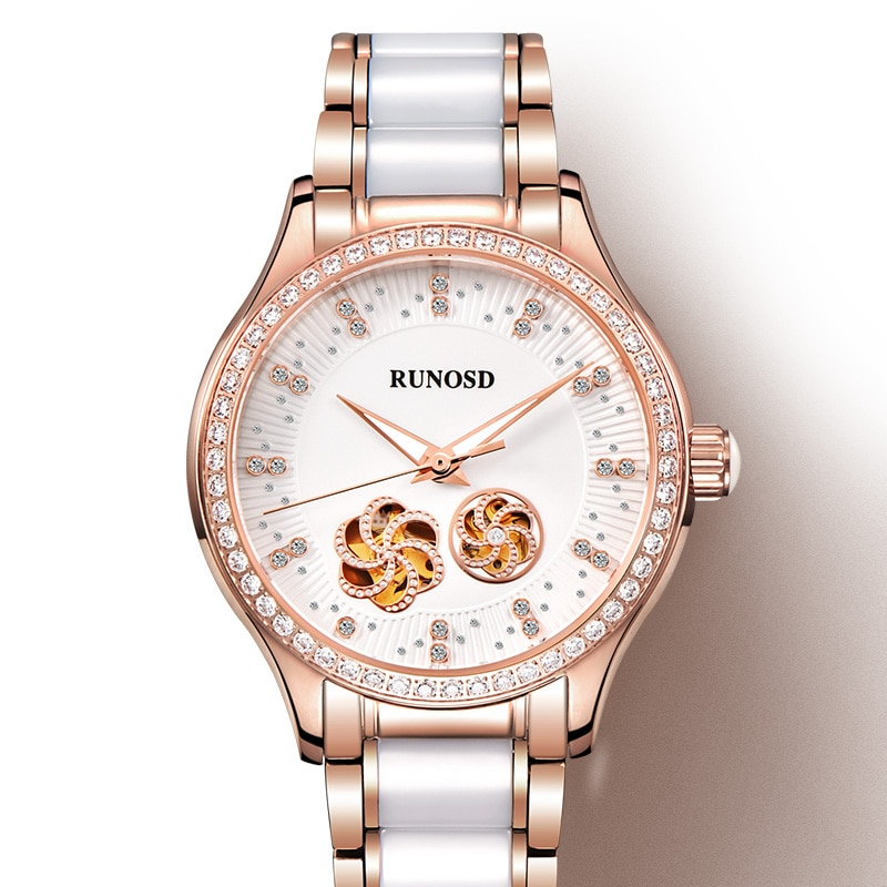 RUNOSD rose gold women's watch Miyota mechanical watch white ceramic strap crystal bright diamond dial three year warranty
