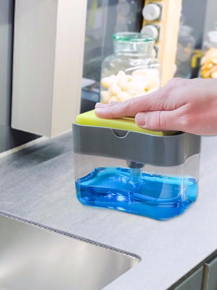 Z tworzywa sztucznego pojemnik na zlew kuchenny taca gąbka dozownik do mydła i zestaw gąbek ręczny dozownik mydła organizer do kuchni 30E