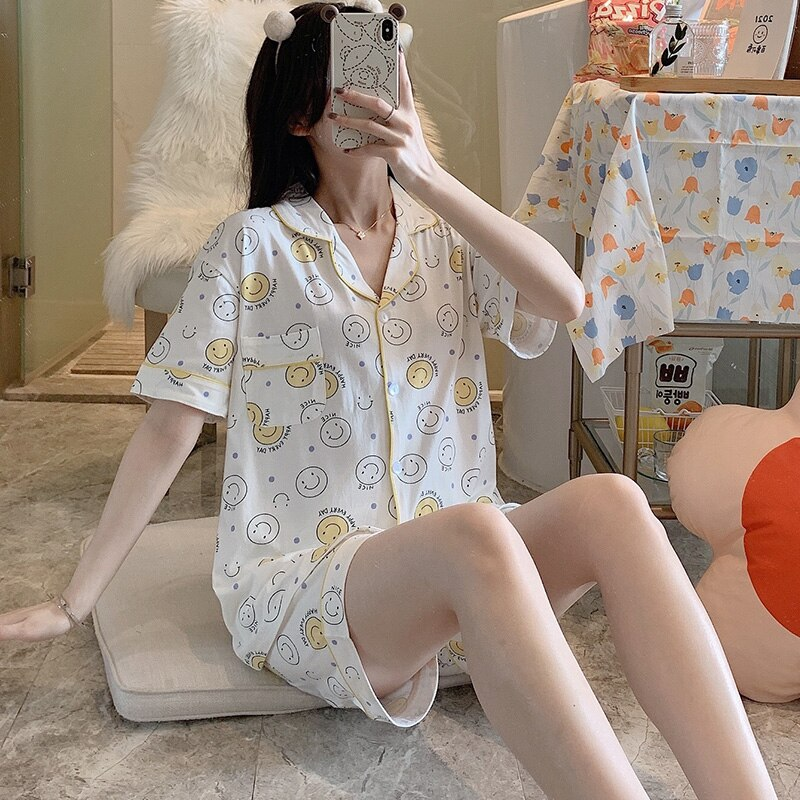 Small Expression Pajamas Women's Summer Short-Sleeved Cardigan Fresh Cotton Suit Loose Suitable for Daily Wear Thin Homewear