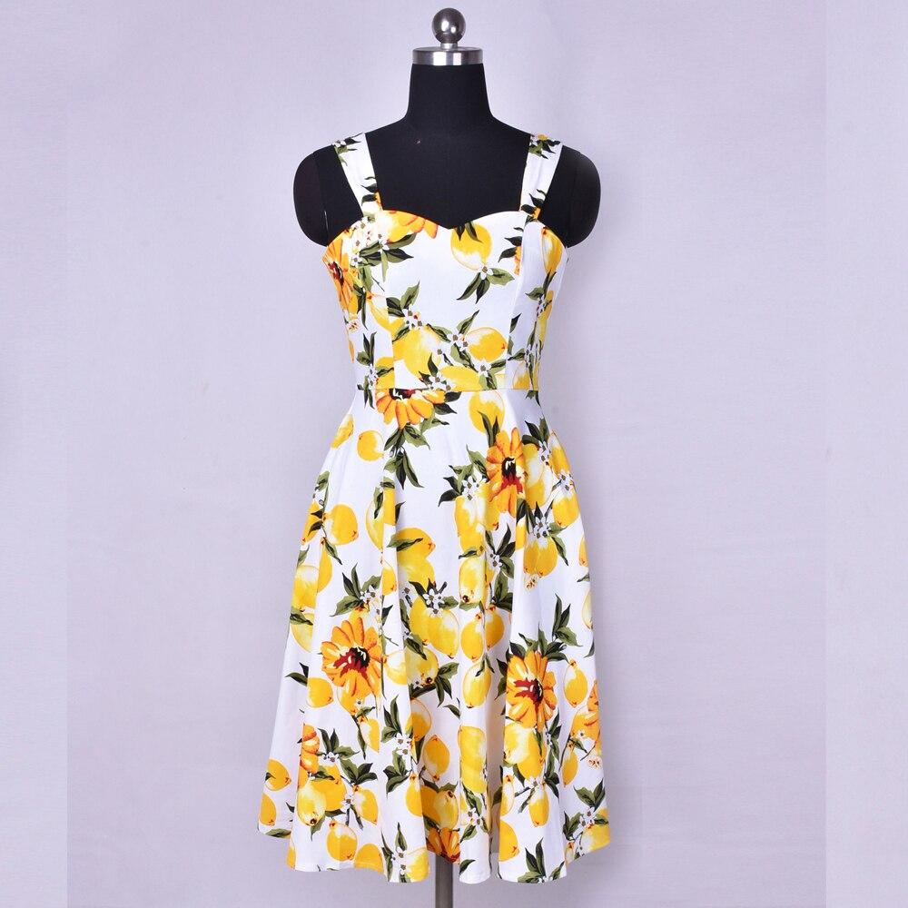 SISHION-vestido de talla grande estampado de limón para mujer, SD0036 vestido Vintage de verano, vestido Retro elegante para fiesta, Vestidos florales de algodón con Pin UP