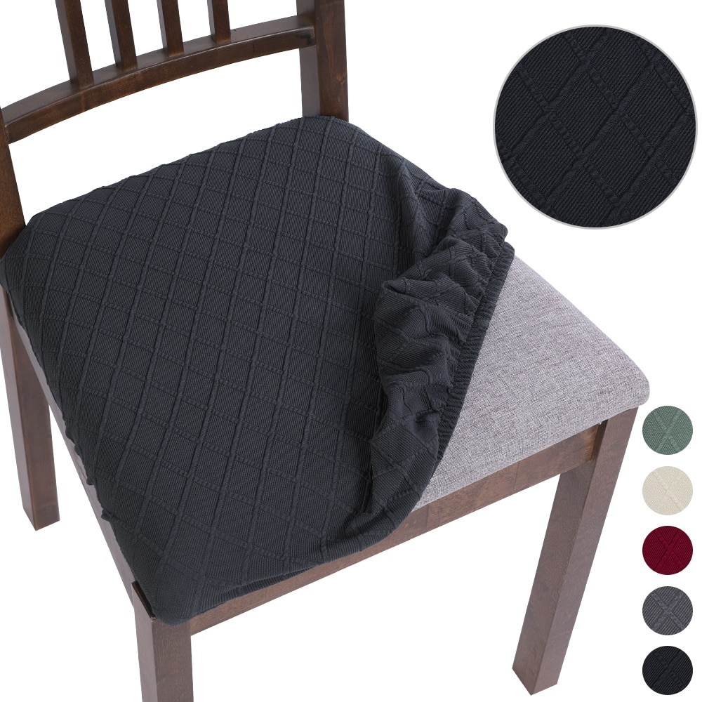 Fundas de asiento de LICRA para silla de comedor, Fundas de cojín elásticas lavables extraíbles para silla de comedor tapizada