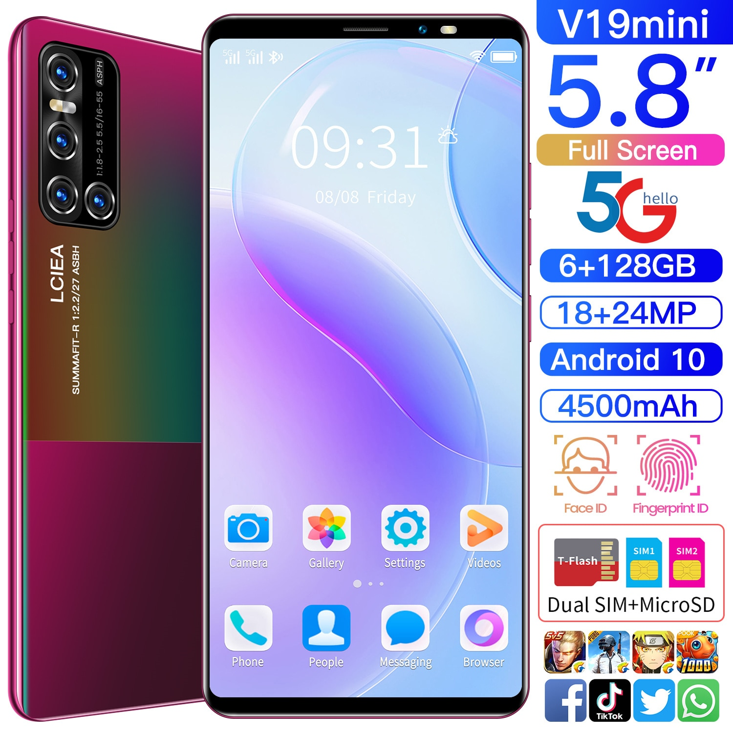 Global Version Galxy V19mini 5.8 Inch Smartphone 4500mAh 6GB RAM 128GB ROM Dual SIM+Micro SD 5G  Fin