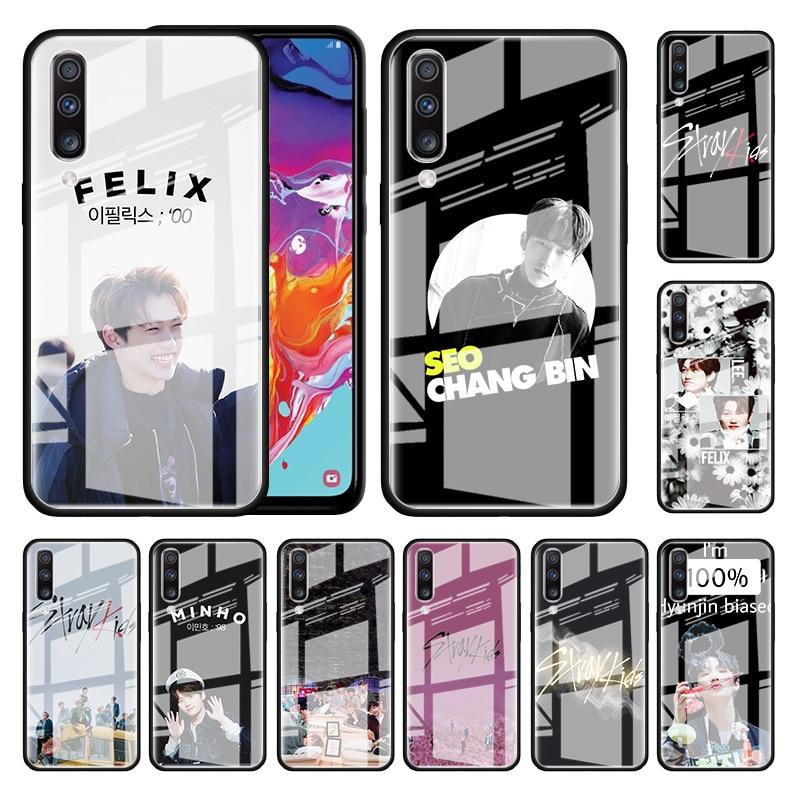 Kpop Stray Kids Glass Case For Samsung Galaxy A70 A50 A51 M51 A20 A10 A11 A31 A71 M31 M21 M11 Tempered Phone Covers