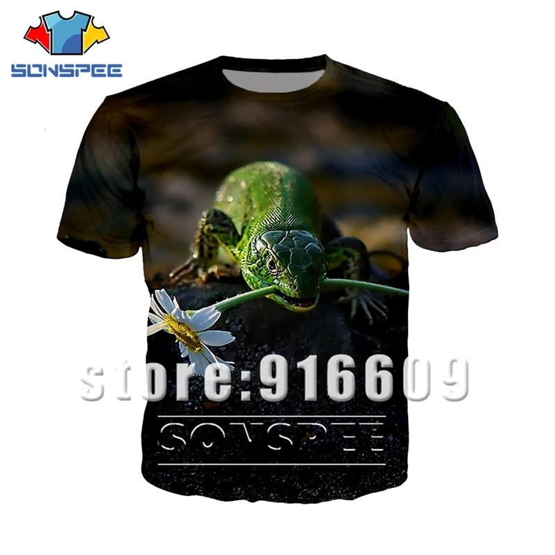 Fashion Short Sleeve 3D print animal lizard Men women streetwear t shirt Harajuku logo t-shirt summer insect shirts Anime tshirt