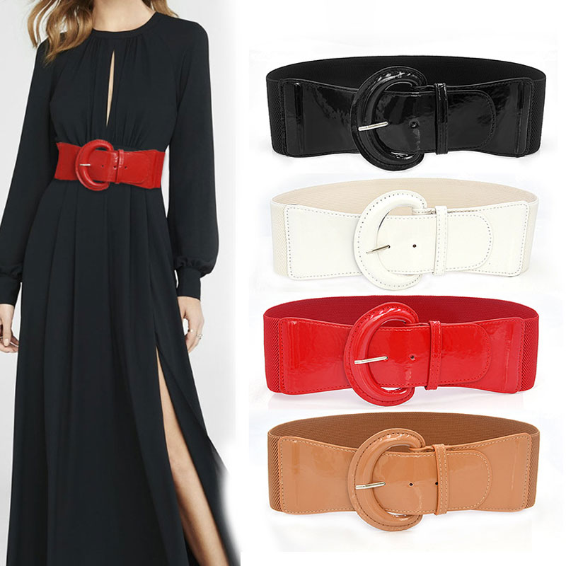 Women PU Leather Wide Waist Belt High Quality Luxury Big Belts For Women Retro Stretch Dress Belt Cu