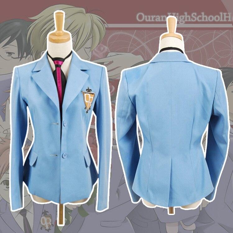 Ouran High School Host Club Cosplay Uniform School Meisje Jongen Haruhi Kyoya Hikaru Takashi Uniform Cosplay Kostuum Blauwe Jas + tie