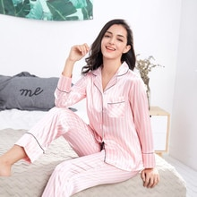 2020 Summer Womens Pajamas Sets Pink Striped Female Silk Two Pieces Shirts+Pants Nighties Sleepwear Satin Pyjamas Plus Size 3XL
