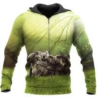 lovely koala 3d all over printed men zip hoodie unisex sweatshirts autumn winter fashion jacket