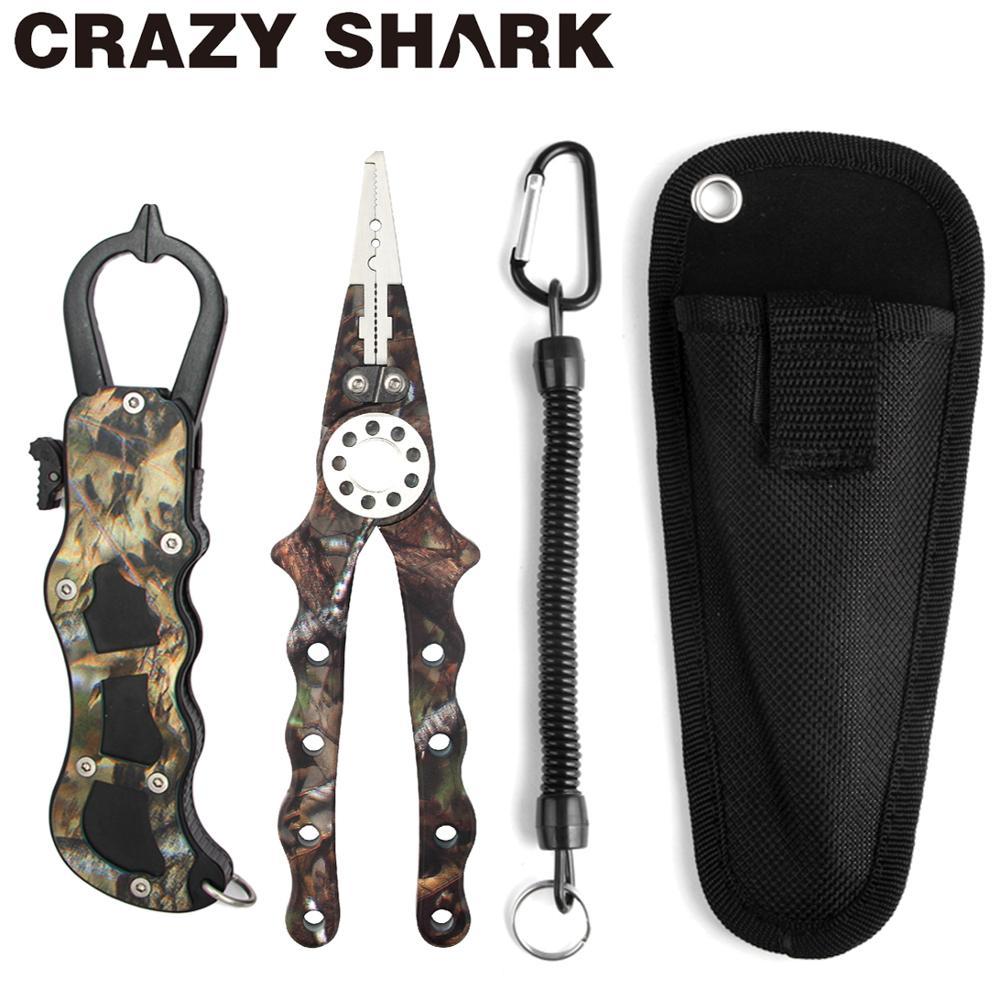 CrazyShark Camo, alicates de pesca de aleación de aluminio, agarre de labios de pescado, juego de corte, línea de extracción, gancho, anillo dividido, carpa, productos de pesca