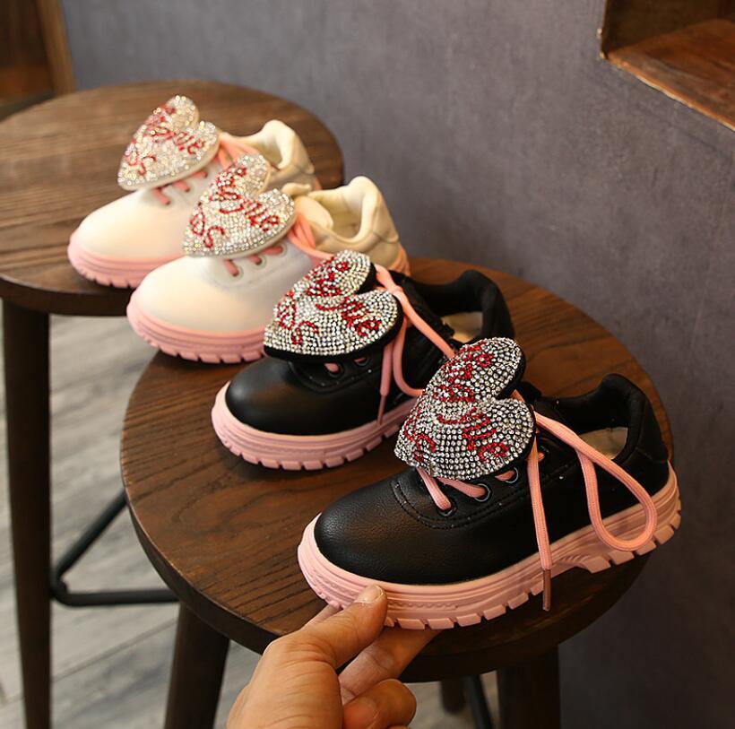 Zapatillas para niñas pequeñas con purpurina, zapatillas para niños, zapatos casuales de princesa, zapatos deportivos de cristal de fondo suave para niños, zapatos ostentosos para niños