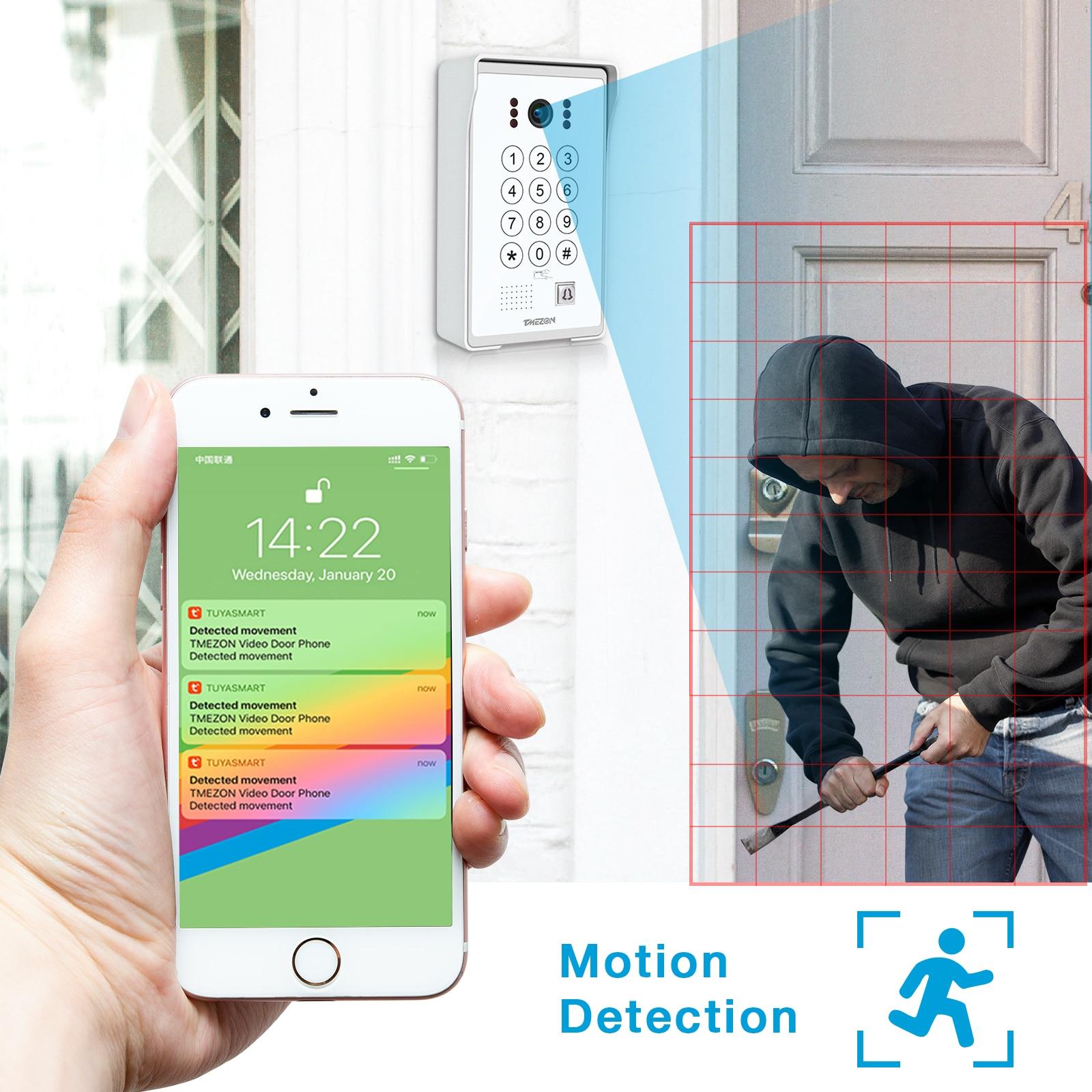 TUYA APP TMEZON 7 Inch 960P Wireless WiFi Smart IP Video Door Phone With Wired Doorbell Camera, Monitor Unlock,Code Keypad RFID enlarge