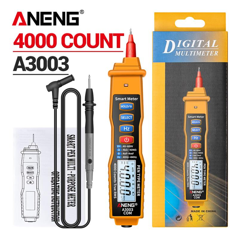 ANENG A3003 Digital Multimeter Pen Type Meter with Non Contact AC/DC Voltage Resistance Capacitance Hz 4000 Counts Tester Tool