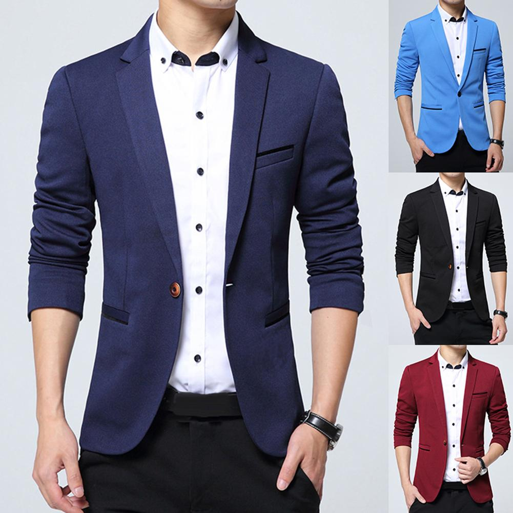 Estilo británico moda hombres negro azul Blazer Formal chaqueta informal de negocios boda novio Delgado traje chaqueta abrigo ropa