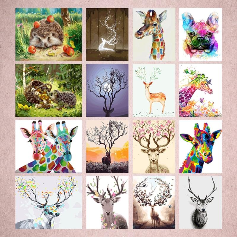 5D Diy pintura de animales de diamante ciervo abstracto y flor cuadrado diamante redondo bordado Kit diamante pintor decoración de la pared